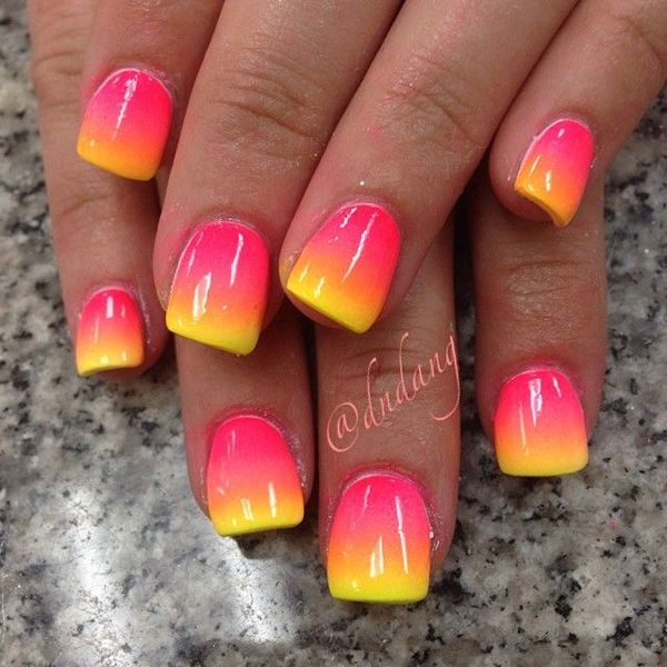 More playful gradients to greet you! Look at this amazing yellow tipped and salmon colored nail art design. The combination of the colors easily depicts that of a sunset on an enjoyable summer day. Make sure you try out this great looking nail art design for your summer getaway.