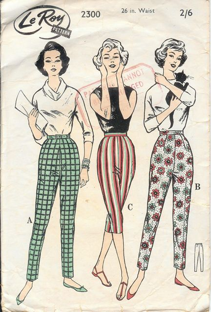 1950s fashions cigarette pencil pant capri green checks red stripes white floral  - need to make
