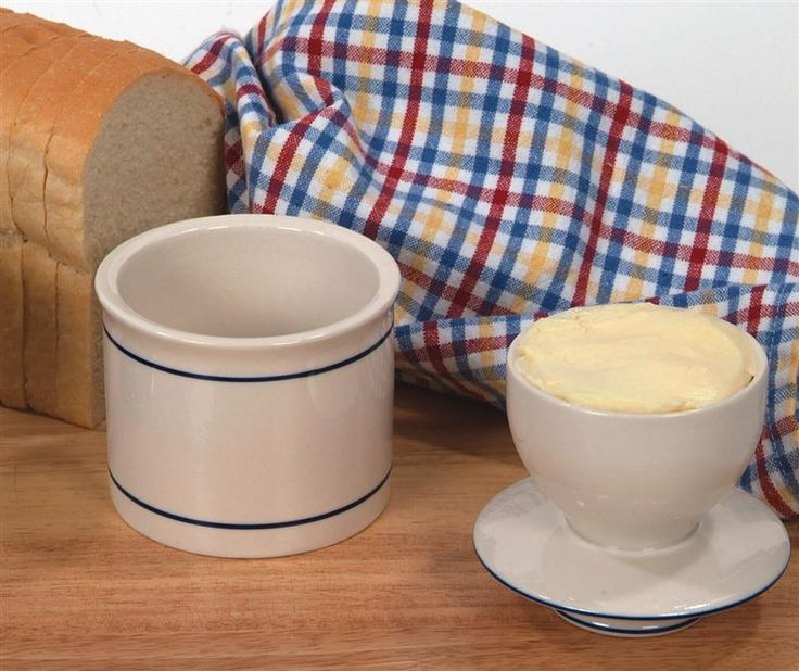 Ancient-Style Butter Crock... this is the best! It keeps butter creamy and fresh without destroying your toast! Just remember on those hot days to stick it in the fridge or it will plop right out!