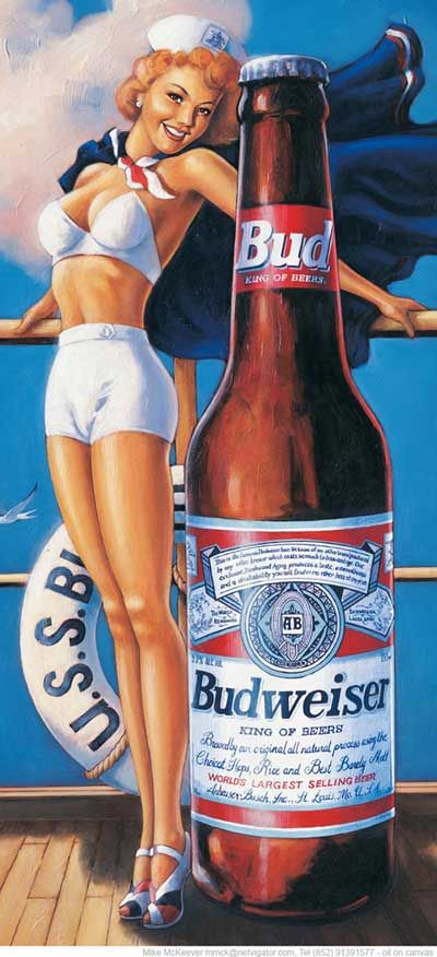"Advertising by Mike McKeever for Budweiser. - Drink Budweiser with a 50s retro pin-up. - Board ""Art-Beer, Biere, Cerveza and Women-Vintage Adv"". -"
