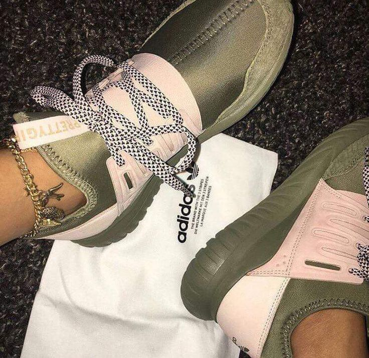 These olive green and soft pink adidas!-Olive Green, soft Yeezy color pink. Pretty girl tongue.