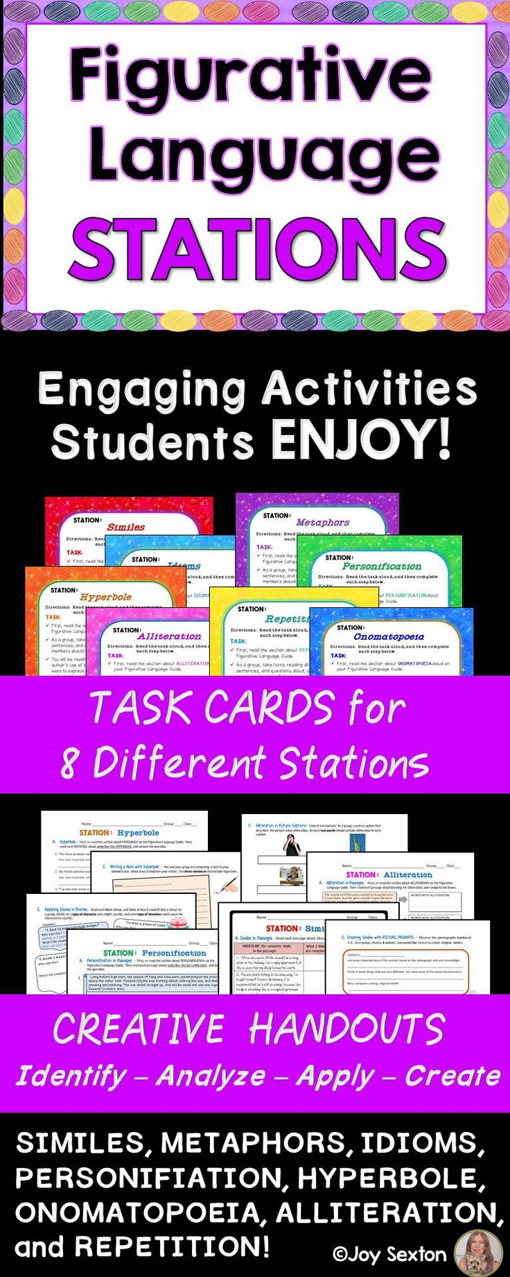 Would you like your students more clear on figurative language and sound devices? Actively engage them with this creative station work! You get 8 different stations with task cards and inviting student handouts for each. Students identify and analyze figurative language, and then brainstorm to apply their knowledge in imaginative ways.