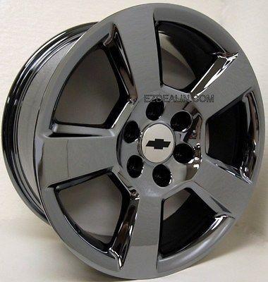 "Sonata With Black Rims >> Set 4 20"" Black Chrome 5 Spoke LTZ Silverado Z71 Suburban Tahoe Wheels Rims   Silverado z71 ..."