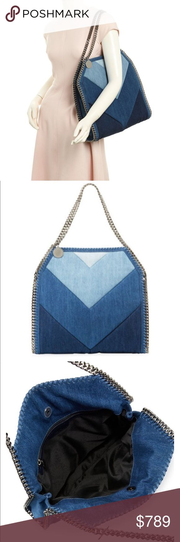 "NEW & AUTH. STELLA MCCARTNEY DENIM CHEVRON TOTE ✨COMING SOON✨Stella McCartney denim tote bag in chevron print with curb chain trim. Silvertone hardware. Chain shoulder straps, 8.3"" drop. Open top with snap closure. Exterior, hanging logo charm. Interior, one zip pocket. 14""H x 15""W x 3""D. Weighs 1 lb. 13.7 oz. Made in Italy. Stella McCartney Bags Totes"