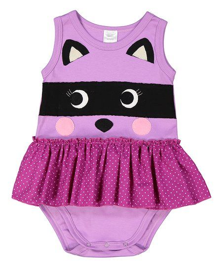 Victoria Kids Lilac Polka Dot Raccoon Organic Skirted Bodysuit - Infant | zulily