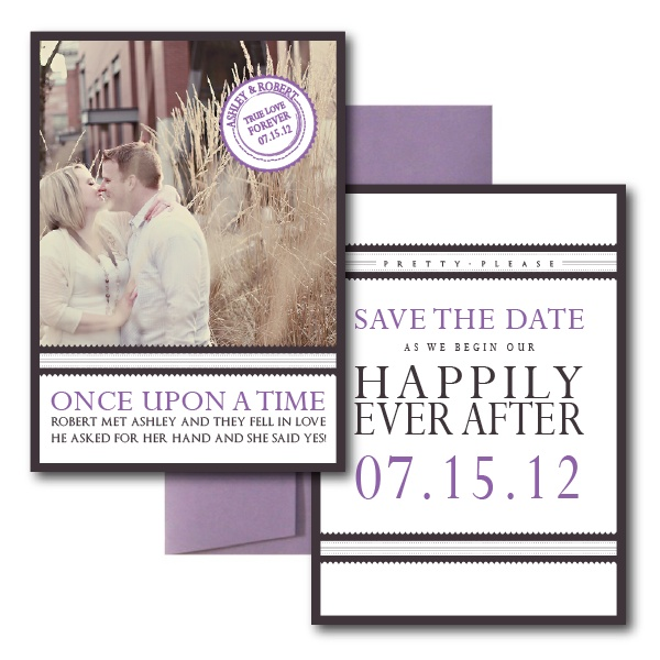 Our Love Story Save the Dates, Purple Save the Dates, Elegant Save the Dates
