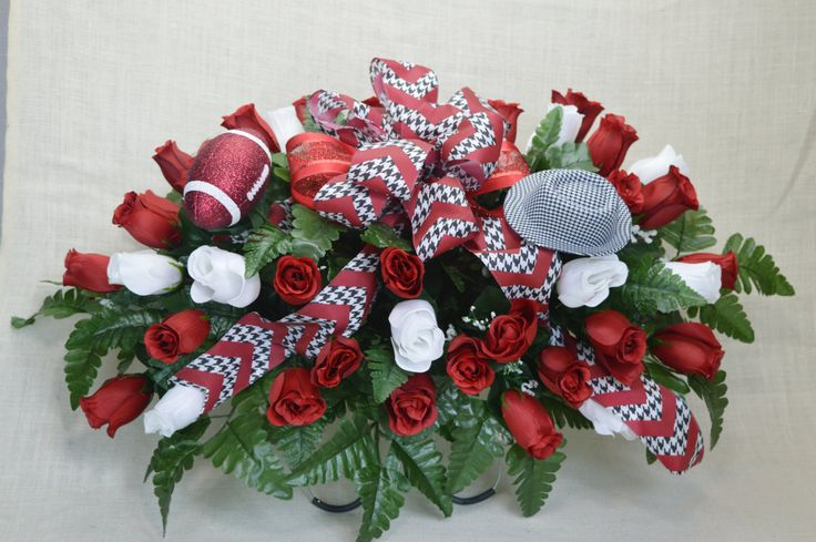 No. 3013 Alabama Crimson Tide Fan Red and White Rose Buds Cemetery Flower Arrangement by AFlowerAndMore on Etsy