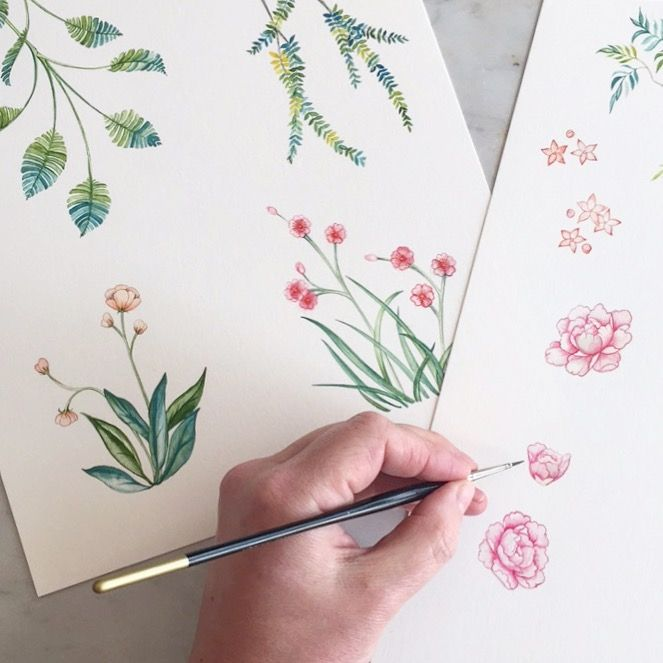 Hand painted watercolour chinoiserie