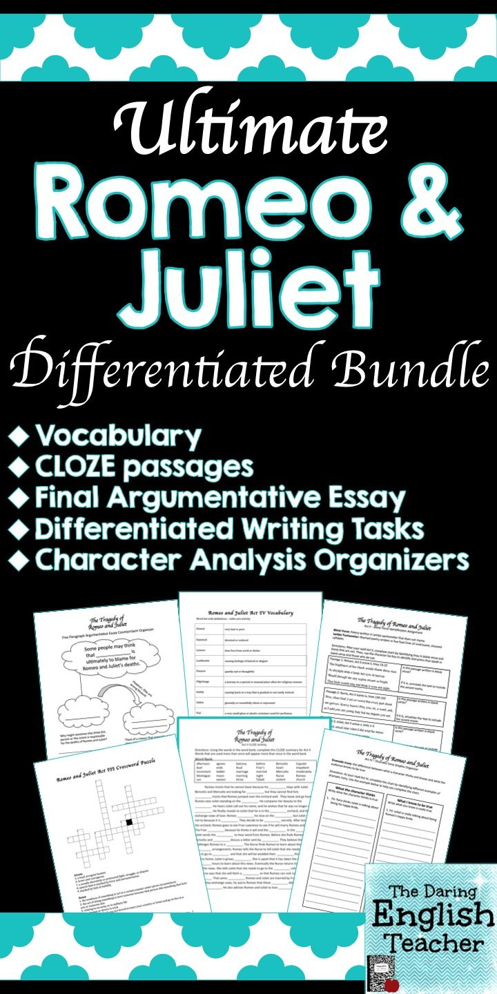 best images about teaching shakespeare romeo and juliet by william shakespeare this romeo and juliet unit includes el differentiation and romeo and juliet activities vocabulary writing prompts