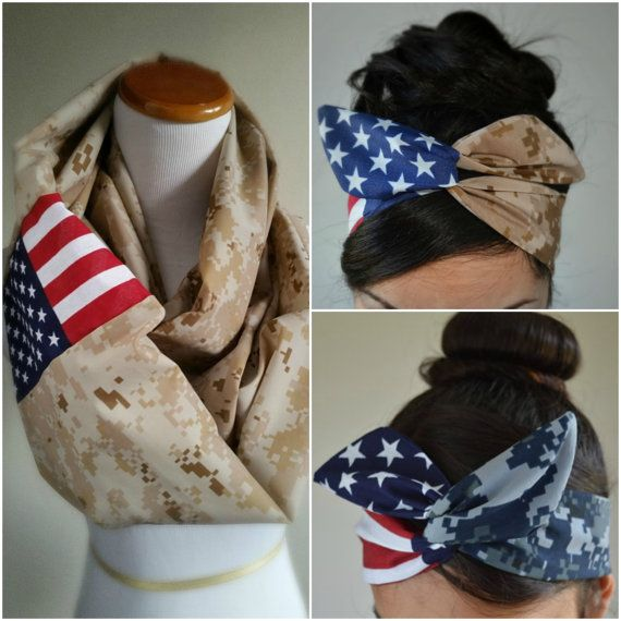 Veteranss day special Marine Desert Military Infinity Scarf with Dolly bow set. American Flag Camo scarf. Made of high quality light weight stretchy