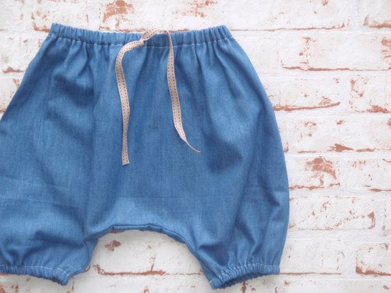 Baby Boys HAREM PANTS Harem Shorts Slouch Pants Lightweight Denim Jeans Casual Cotton Cool & Summery Made to Order Sizes 0 - 24 months