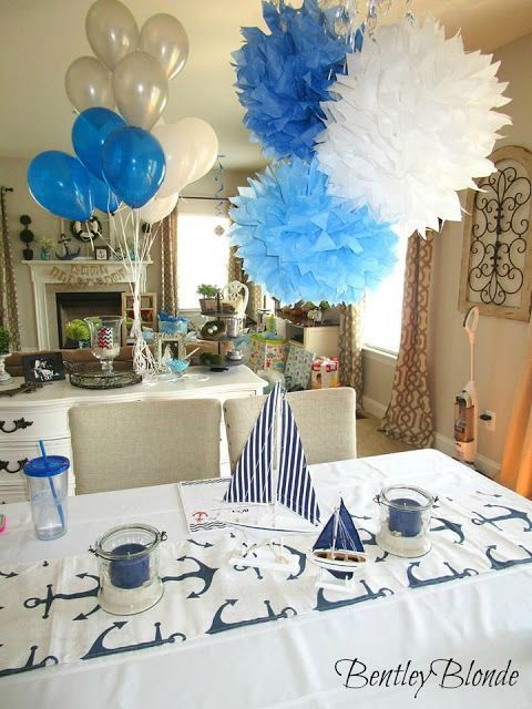 Love the balloons for this Nautical Baby Shower centerpieces.