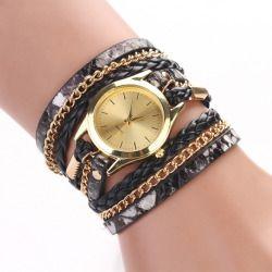 Hot Fashion Women Retro Chains Leopard Synthetic Leather Strap Watch Bracelet Wristwatch