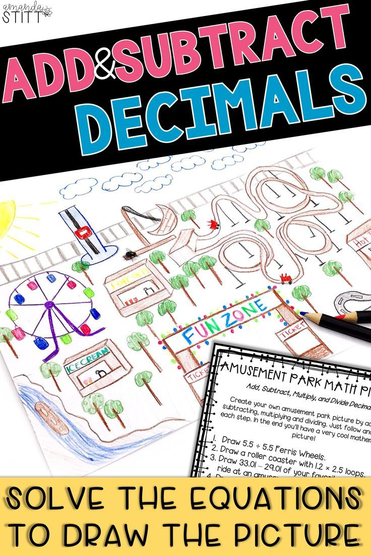 Practicing Addition And Subtraction Of Decimal Numbers Has Never Been So Fun With August Math Pictures Stud Math Pictures Upper Elementary Activities Decimals Solve addition equations with decimals