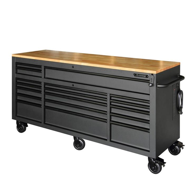 Husky 72 in. 18-Drawer Mobile Workbench with Adjustable-Height Solid Wood Top, Matte Black, Powder Coated Matte Black Finish