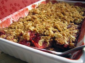This is my version of a healthy Fruit Cobbler. It tastes great and is much healthier for you than traditional cobblers made with lots of sugar.