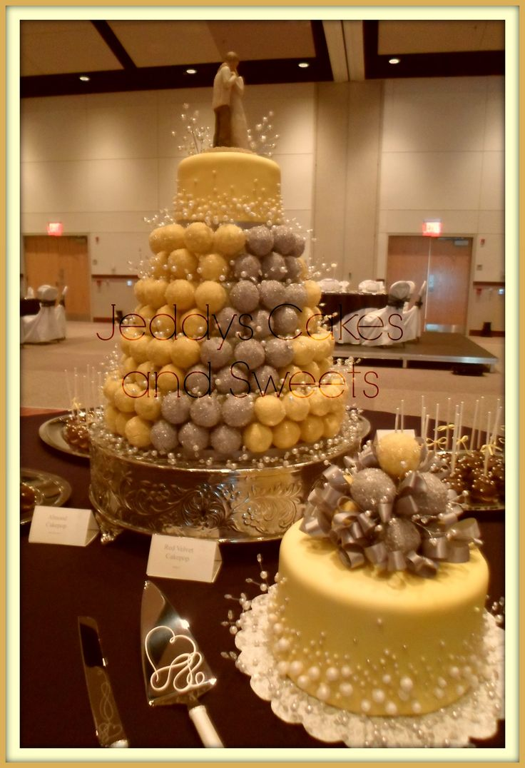 """""""Un-cake""""  Cake-pop tower with cutting cake and Anniversary cake, pearl themed"""