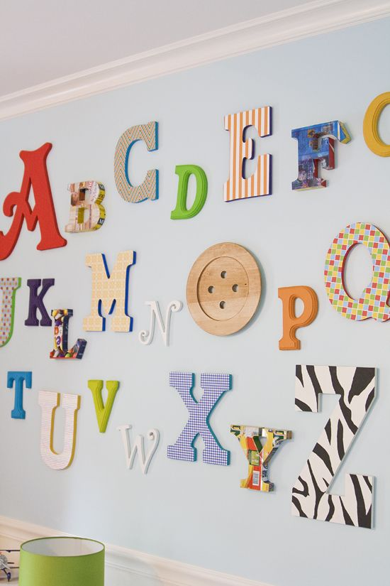 Alphabet wall (via collected: http://collectedblog.com/2011/06/britts-alpahbet-wall/)