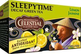 Sleepytime Decaf Lemon Jasmine Green Tea.  Minty, lemony, soothing. So very refreshing, yet so relaxing at bedtime.