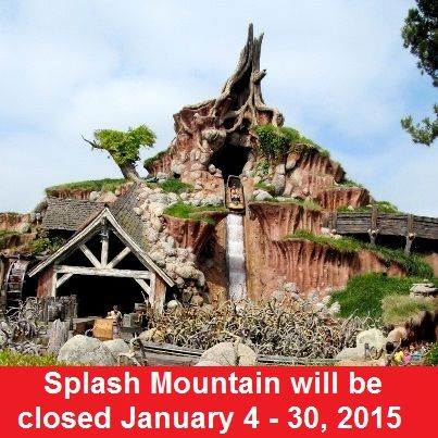 Disney World Ride Closures - Splash Mountain, in the Magic Kingdom,  will be closed from January 4 - 30, 2015.  For more closures, see: http://www.buildabettermousetrip.com/crowds-closures-special-events/   #DisneyWorld