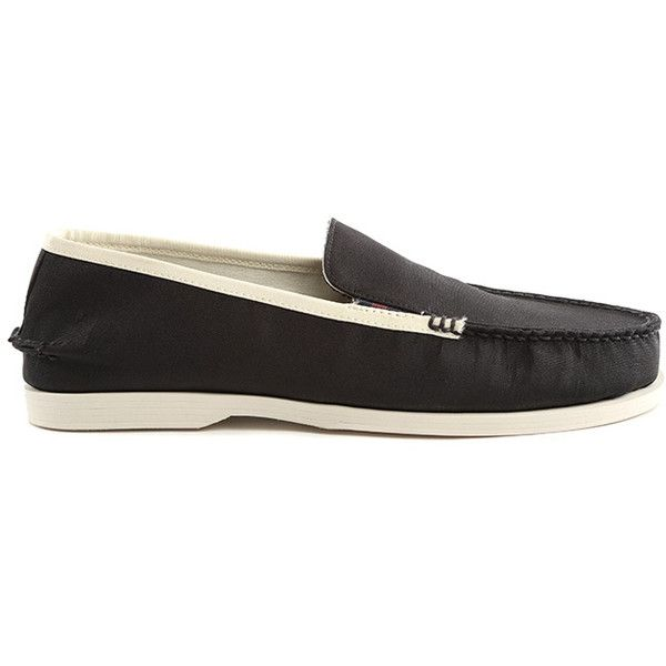 Sperry Black Boat Loafer ($60) ❤ liked on Polyvore featuring men's fashion, men's shoes, men's loafers, men, sale, mens black loafers shoes, mens black shoes, mens loafers, mens black loafers and mens black slip on shoes