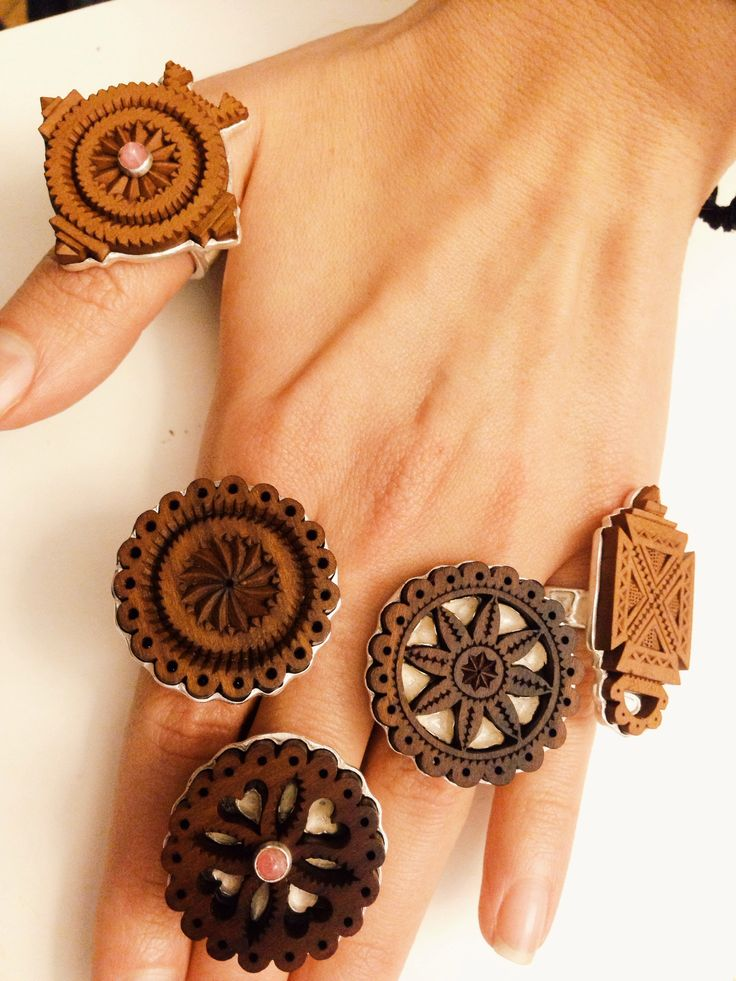 Wood rings, Manually engraved, Ancestral symbols, Traditional and Contemporary