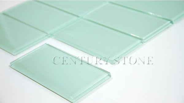 """3 """" x 6 """" fournisseur professionnel de carreaux de verre série d'eau vert dosseret de cuisine carrelage mural"""