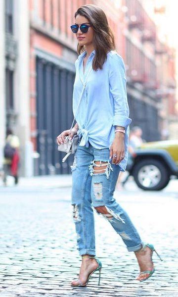 Feirinha Chic : Como usar :Calça jeans rasgada (destroyed) | Feirinha Chic Blog | Calça jeans rasgada, Jeans rasgado e Look com calça