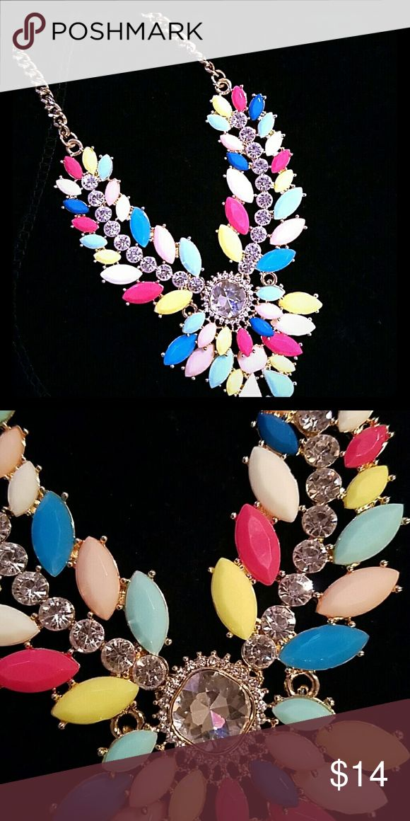 "Collar necklace with vibrant stones 19"" excellent condition Susan Graver Jewelry Necklaces"