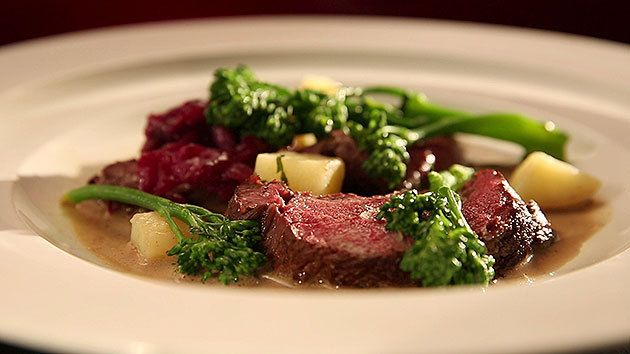 MKR4 Recipe - Roasted Venison, Braised Cabbage and Broccolini