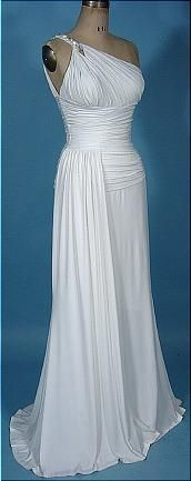 """Vintage white heavy jersey one-shouldered Grecian gown""  So lovely."