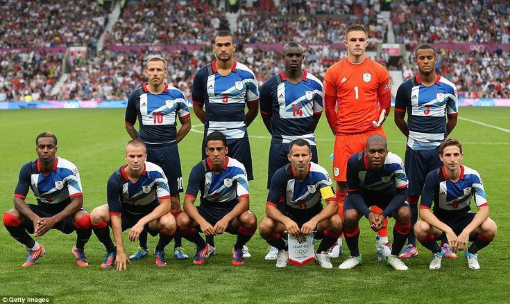Going for gold: Team GB line up before the Men's Football first round Group A Match against Senegal at Old Trafford