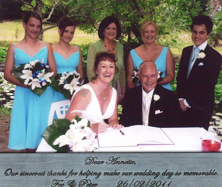 Dear Annette, Our sincerest thanks for helping make our Wedding Day so memorable. Fee & Peter Turner February 2011