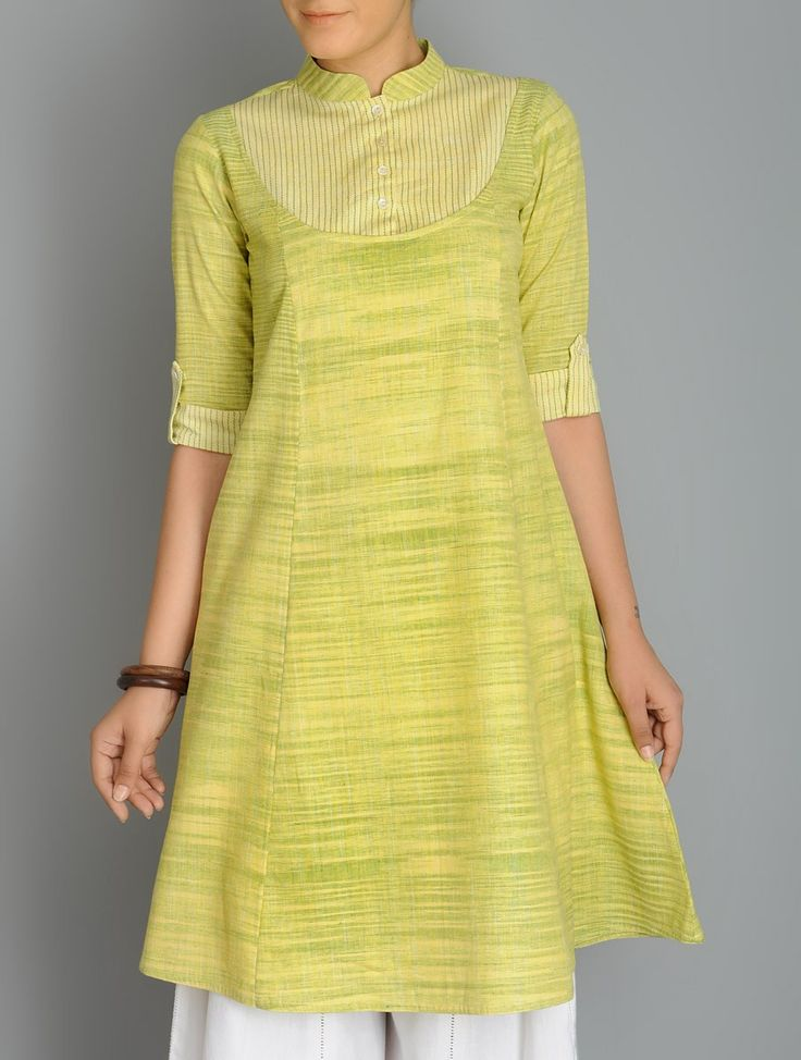 Buy Lime Green Roll Up Sleeve Kalidar Khadi Kurta Apparel Tunics & Kurtas Online at Jaypore.com