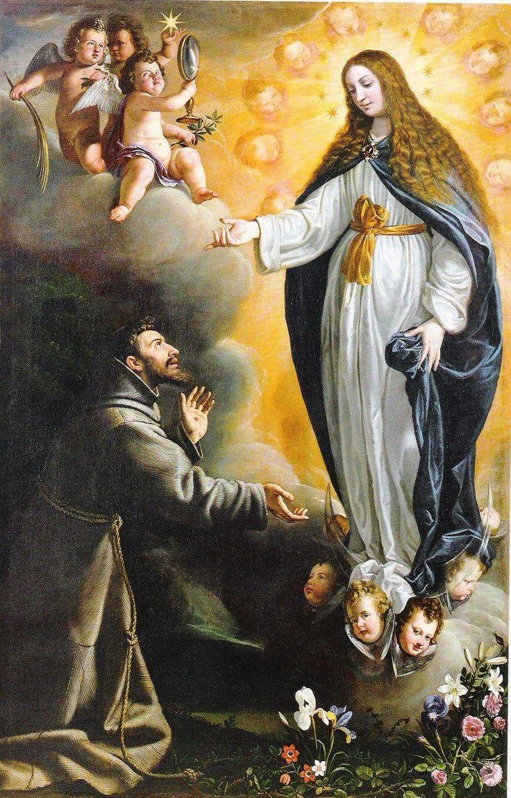 Saint Francis venerating the Immaculate Conception, Tota pulchra es, María. Hebe Garibay.