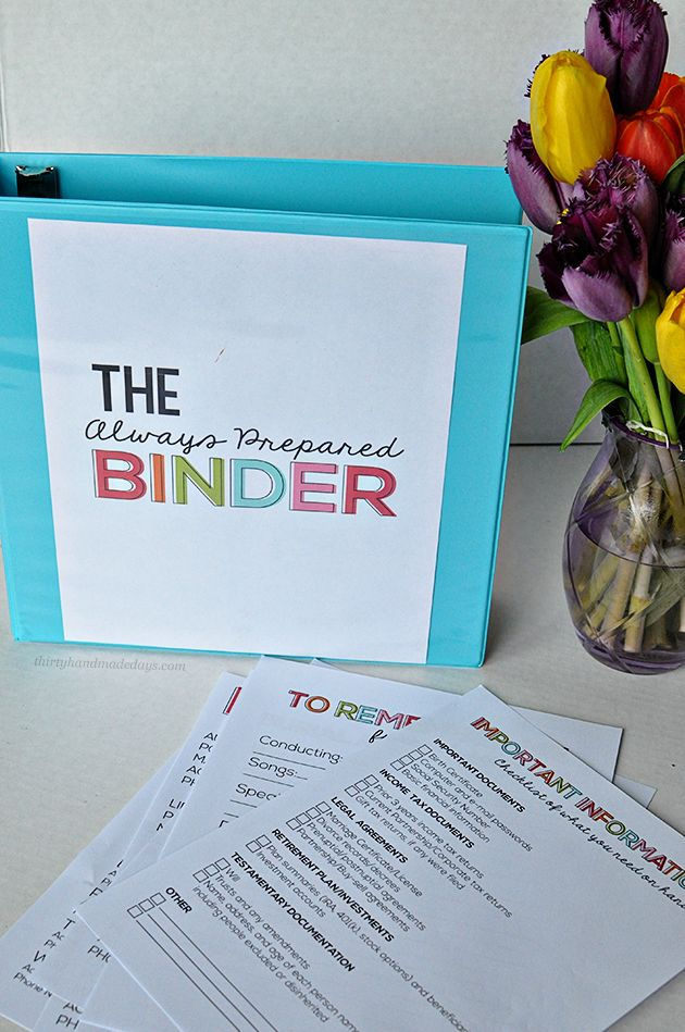 Get everything organized into this always prepared binder. Free printables for getting started.
