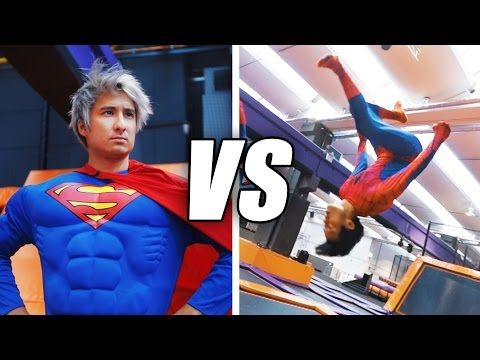 SPIDERMAN vs SUPERMAN Trampolin Challenge   Julien Bam & Gong Bao - YouTube