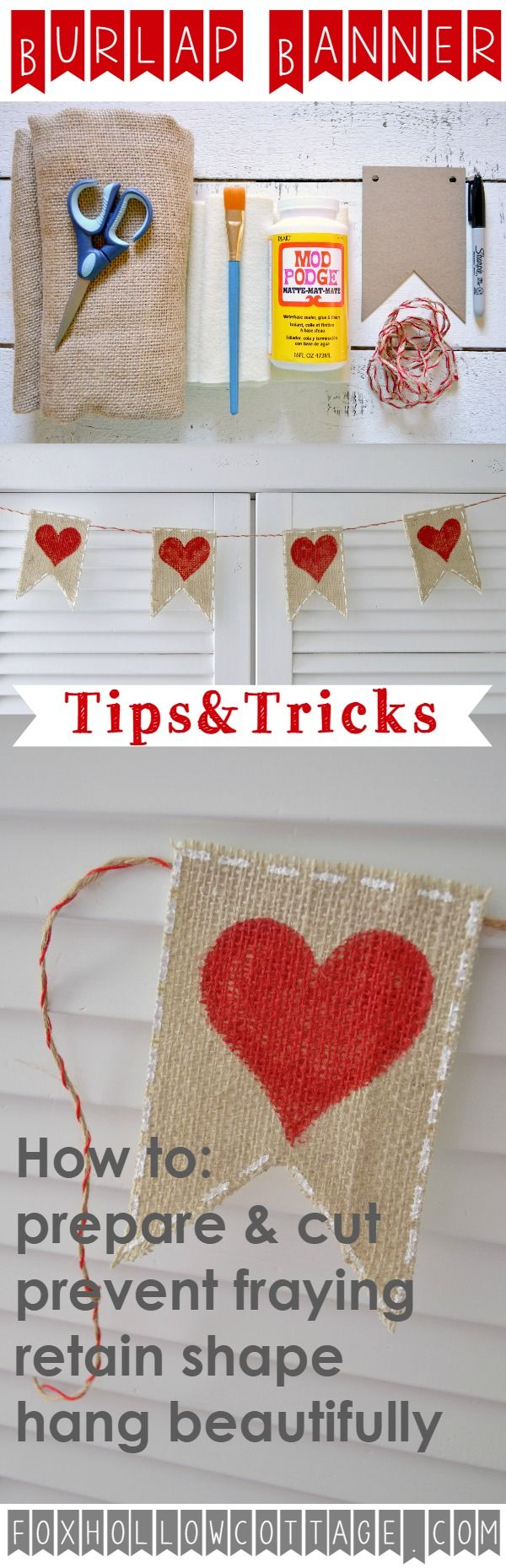 Burlap Banner diy craft tutorial with supply list includes tips and tricks for a beautiful result foxhollowcottage.com