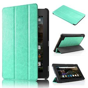 "Amazon.com: Kindle New Fire 7 2015 Slim Case - Swees® Ultra Slim PU Leather Magnetic Case Cover for Amazon Kindle Fire 7 Inch 7"" Tablet (Only Fit 5th Fifth Generation 2015 Release Gen 5) Mint Green: Electronics"