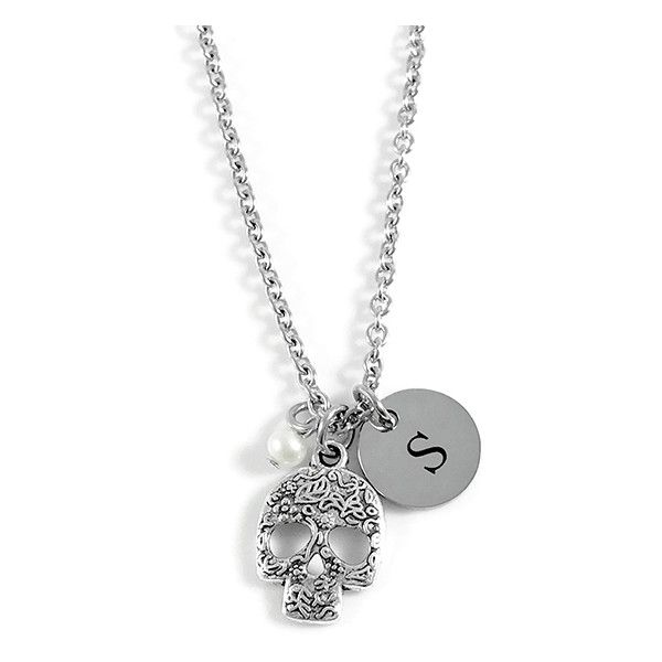 Pebbles Jones Cultured Pearl & Stainless Steel Skull Initial Pendant... ($15) ❤ liked on Polyvore featuring jewelry, necklaces, initial charms, letter pendant necklace, initial pendant necklace, stainless steel necklace and skull pendant necklace