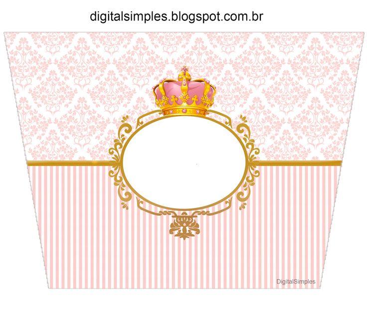 "Convites Digitais Simples: Kit Personalizado Tema ""Coroa Rosa Menina"" para Imprimir"