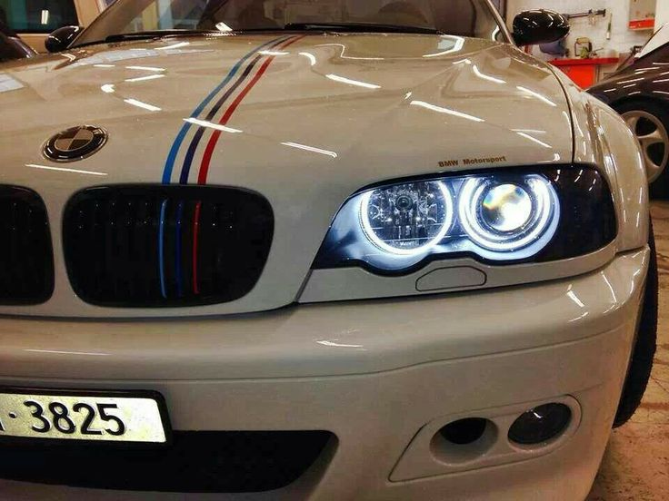 bmw e46 m3 white m stripe angel eyes bmw. Black Bedroom Furniture Sets. Home Design Ideas