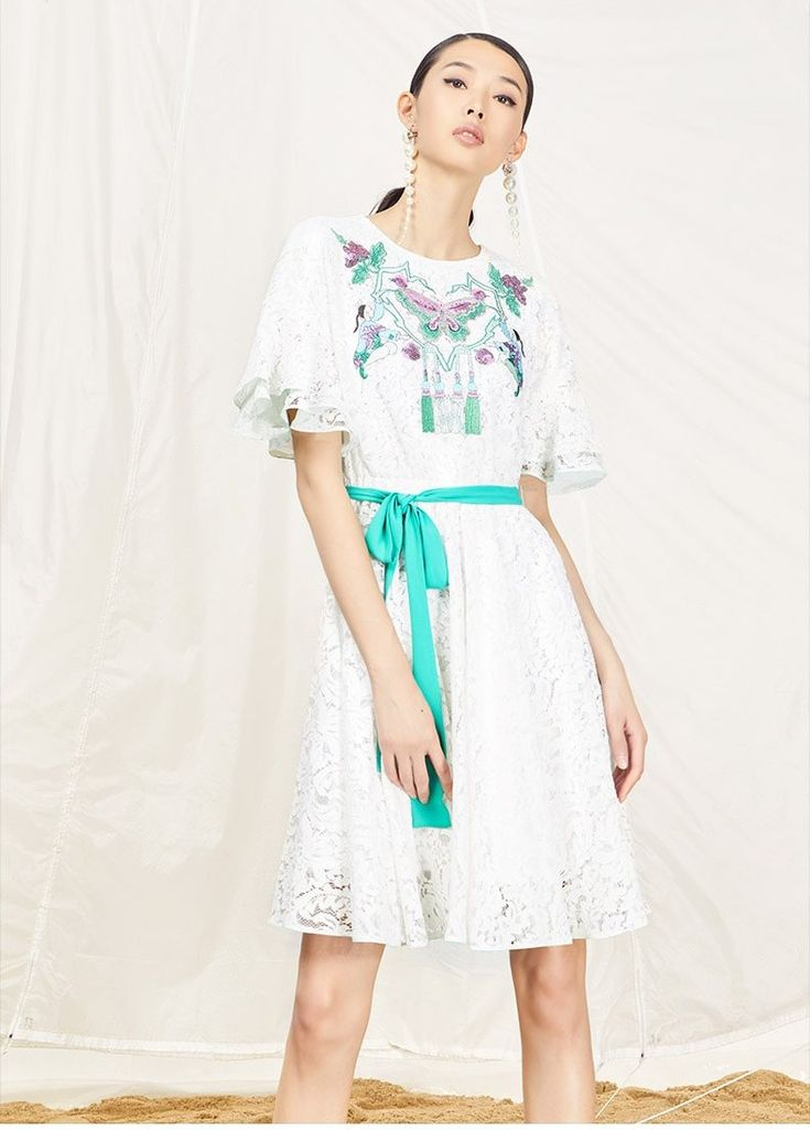 YSMX Butterfly Embroidered White Lace Dress | Bohointernal.com