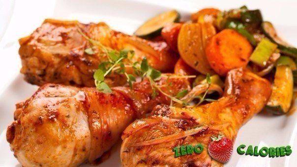 Курица запеченная с овощами  на 100грамм - 79.91 ккал, Б/Ж/У - 7.32/3.94/4.06