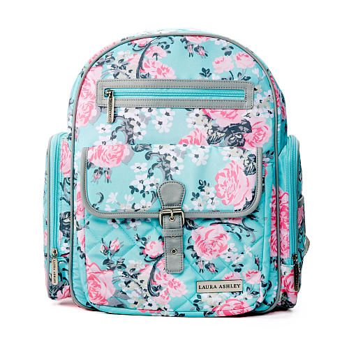"Laura Ashley 4-in-1 Rose Floral Dome Backpack Diaper Bag - Teal - Laura Ashley - Babies ""R"" Us"
