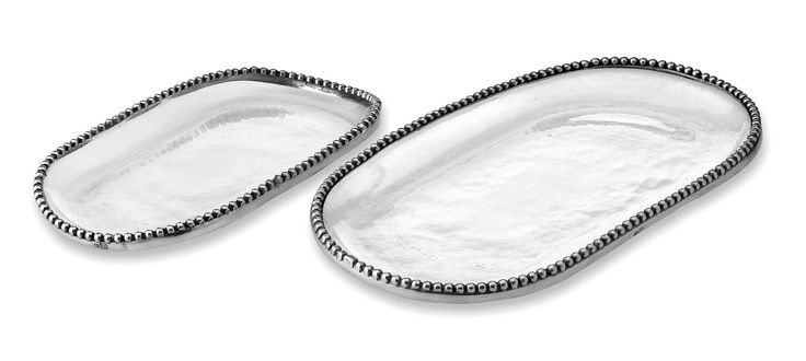 Pewter and glass medium oval platter cm 19x36