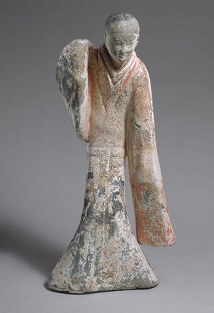 Female Dancer, Western Han dynasty (206b.c.–9a.d.), 2nd century b.c.  China  Earthenware with slip and pigments