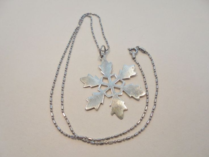 Vintage Sterling Silver Pendant Necklace Christmas Snowflake Signed NF 925 Retro #NF #Pendant