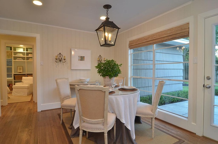 Sunroom Idea Hanging Light Wall Color Bamboo Blinds