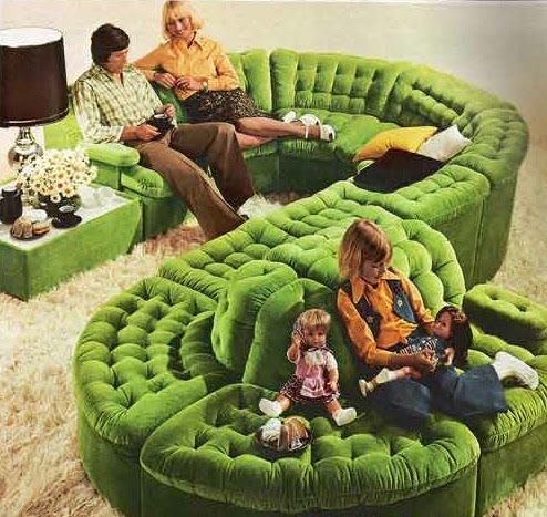 Early 70s green sectional living room couch-WOW- that is one groovy sofa...  My 4th grade teacher had one of these in our classroom... I did all my schoolwork sitting on that sofa.  :)